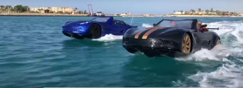 سيارة مصرية تسير فوق الماء (فيديو)