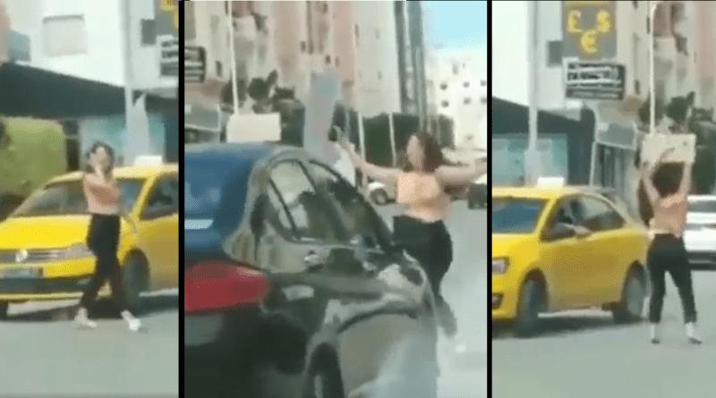 حي الواحات : فتاة  ترقص وسط الطريق وتمنع السيارات من المرور