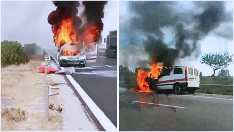 اندلاع النيران في سيارة أجرة في الطريق السيارة